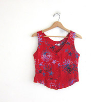 Vintage red button up tank top. Batik sun and moon belly top. Sleeveless rayon shirt.