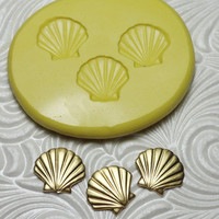 SHELLS TRIO Flexible Silicone Rubber Push Mold for Resin Wax Fondant Clay Ice 1960