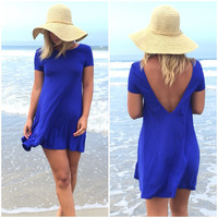 Got Your Back Jersey Dress In Royal Blue