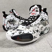 Bunchsun Jordan 34 Fashion New Letter People Print Sports Leisure Shoes Men