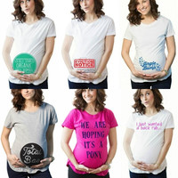 "Summer Funny Pattern Letters Printed ""Loading""Pregnant Maternity Pregnancy Clothes Tee T-Shirt = 1946916164"