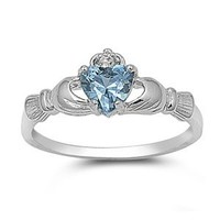 9MM 2ctw Sterling Silver Blue Simulated AQUAMARINE ROYAL HEART Claddagh Ring 4-10