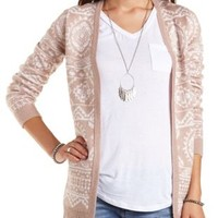 Geometric Print Open Front Cardigan by Charlotte Russe - Taupe Combo