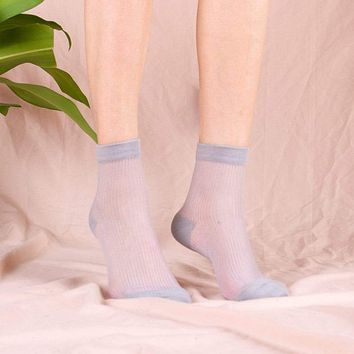 Mori Sheer Striped Sock | Grey