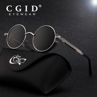 CGID Steampunk Style Round Metal Sunglasses with UV400 and Polarized Lens for Men & Women E72