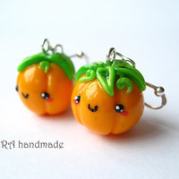 Kawaii cute halloween autumn orange pumpkin earrings