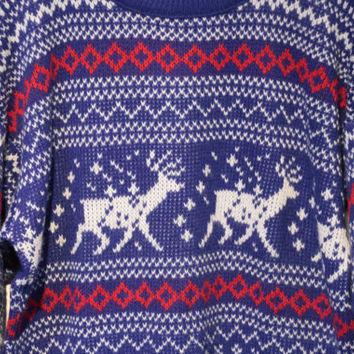 Classic Reindeer Sweater - Vintage Nordic Christmas Holiday Sweater Blue Size Large