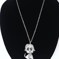 Puppy Dog Pendant with Dangle Eyes and Body, Vintage 1960s 1970s Silver Tone Chain Link Necklace