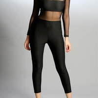 Mesh Top Long-Sleeve One Piece Jumpsuit Long Pants Sexy Club Off Shoulder Bodycon Sheer Jumpsuit Romper For 6618 SM6