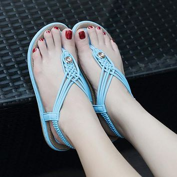 New ladies sandals metal braided large size flat shoes