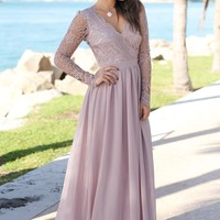 Tan Crochet Maxi Dress with Open Back and Long Sleeves