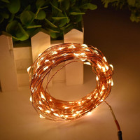 1X Warm White 10M 100LED 3AA Battery-powered Gold Copper Wire String Light, Outdoor LED Lighting String for Xmas Halloween Decor