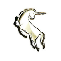 Unicorn Pin Vintage Avon Fantasy Polished Gold Tone Brooch Estate V375