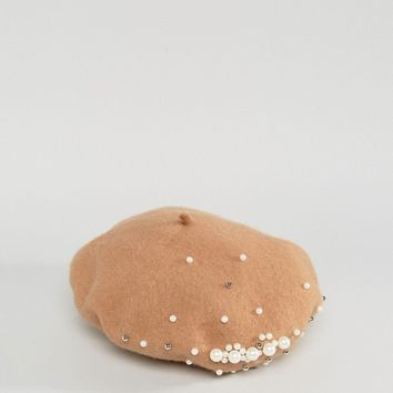 My Accessories Beret in Pink with Pearls at asos.com