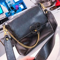 Valentino New fashion leather shoulder bag crossbody bag Black