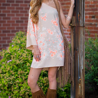 On And Off The Shoulder Printed Dress (Taupe)