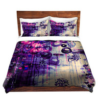 PURPLE BUBBLEGUM DREAMS Swirls Art Duvet Covers Violet Pink Home Decor Bedding King Queen Twin Cheerful Clouds Whimsical Girly Sky Bedroom