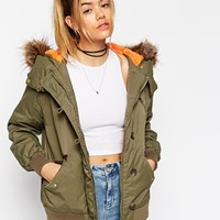 ASOS Bomber Jacket with Oversized Hood at asos.com