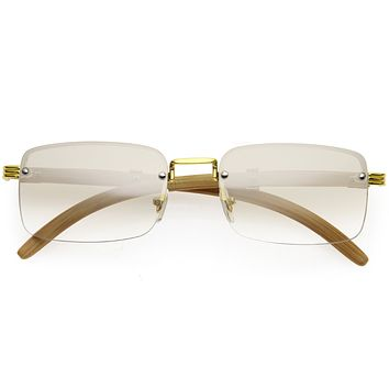 Luxe Vintage-Inspired Rimless Neutral Medium Square Sunglasses D251