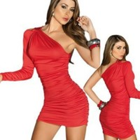 Sexy Red One Shoulder Long Sleeve Mini Dress
