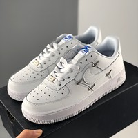 "Nike Wmns Air Force 1'07 LX ""Chrome Swooshes White"" Air Force One Classic Low Top Casual Sports Shoes Men's and Women's Shoes"