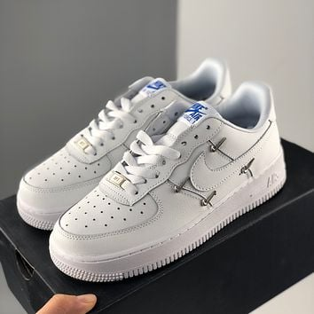 """Nike Wmns Air Force 1'07 LX """"Chrome Swooshes White"""" Air Force One Classic Low Top Casual Sports Shoes Men's and Women's Shoes"""