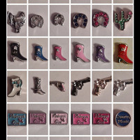 Floating Charms for Floating Locket: Country~Country Western~Farm~Redneck Girl, cowboy boots & hat, gun, horse, saddle, barn, Country Music