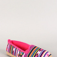Women's Bamboo African Print Round Toe Slip On Loafer Flat