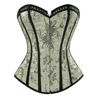 Charmian Women's Plus Size Steampunk Overbust Corset Sexy Floral Retro Satin Corsets and Bustiers Waist Trainer Shaper