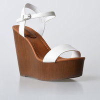 White Leatherette Emily Wooden Wedge Sandals