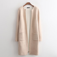 Plain Long-Sleeve None-Button Long Coat With Pocket