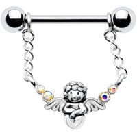 Silver 925 Aurora Guardian Angel Nipple Ring MADE WITH SWAROVSKI ELEMENTS | Body Candy Body Jewelry