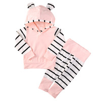 Newborn Baby Girl Hoodie set (Tops T-shirt+Cotton Pants)