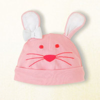Bunny Rabbit Knit Hat for Infants - Pink with White Ears - Easter (6-12 months)