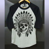Native skull shirt S M L XL XXL plus size clothing/ Raglan top baseball tshirt men teen women/ native print/ Day of the dead shirt/ skulls