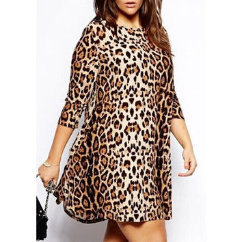 Fashionable Round Neck Leopard Print Plus Size 3/4 Sleeve Dress For Women