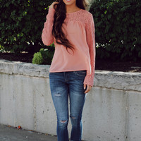 Lady In Lace Top - Salmon