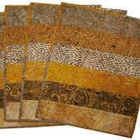 Quilted Placemats in Shades of Brown and Beige Batik