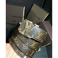 LV tide brand men and women casual wild canvas smooth buckle belt Coffee Monogram