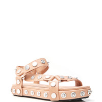 Embellished Nude Calf Leather Aiden Sandals