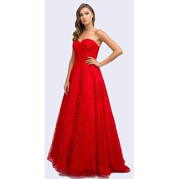 Floor Length Embroidered Lace Ball Gown Dress Red Strapless