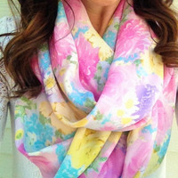 Pretty in Pastel Floral Scarf