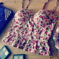 Midriff Bustier Top With Sexy Pink Floral Pattern Size S/M - MT15 - Smoky Mountain Boutique