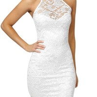 Miusol Womens Halter Neck Backless Sexy Lace Prom Formal Evening Dress