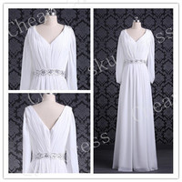 V-Neck Long Sleeve Custom Mermaid Straps Court Train Chiffon Applique Sash Long Wedding Dresses Party Dresses Evening Dresses Wedding Dress