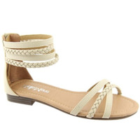 """""""Tikki"""" Braided Ankle and Toe Straps Flat Sandals - Beige"""