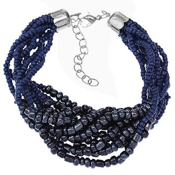 Blue Two Tone Sequin Beaded Bracelet