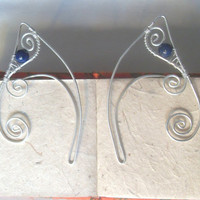Silver Plated Handmade Wire Wrapped Lapis Lazuli Elf Ear Cuffs, Wire Weave, Spiral, Elven Ears, LARP