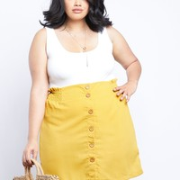 Plus Size Allie Button Front Skirt