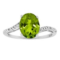 Oval Peridot Ring in Sterling Silver - White (8x6mm)